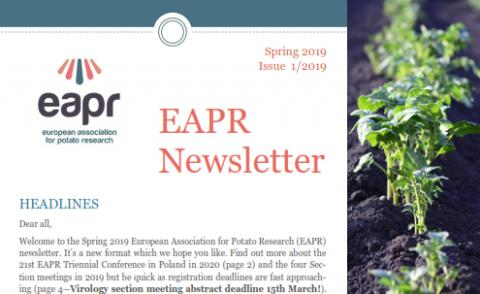 Front page of Spring 2019 newsletter